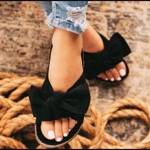Shoes - Black Bow Knot Cork Slides Sandals